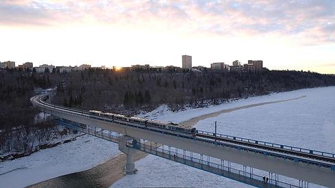 Edmonton ETS train crossing a bridge