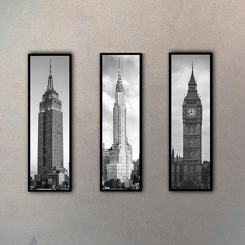 Set Íconos Arquitectónicos Gigantes (3 Cuadros)