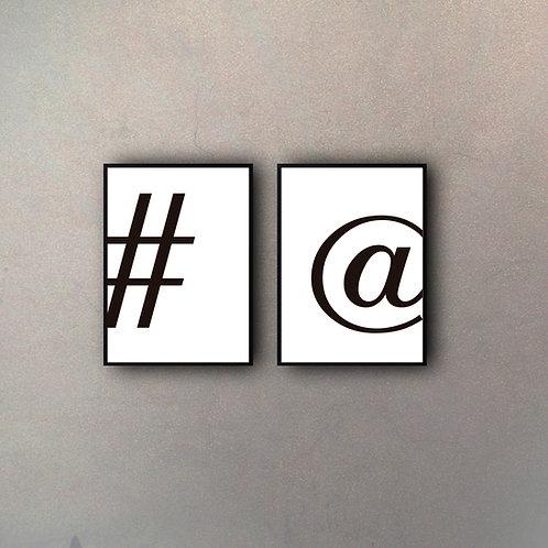 Set Numeral & Arroba (2 Cuadros)