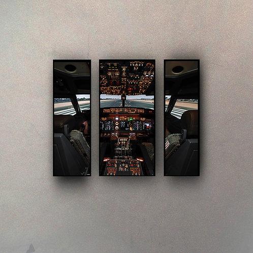 Tríptico Cabina Avión I (3 Cuadros)