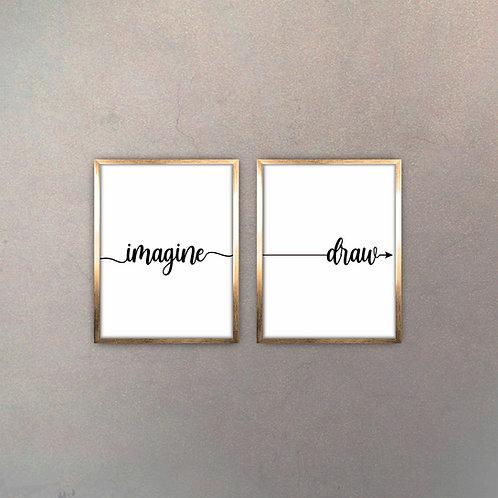 Set Imagine & Draw (2 Cuadros) Gold