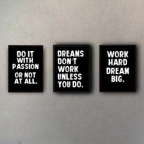 Set Frases Motivacionales (3 Cuadros)