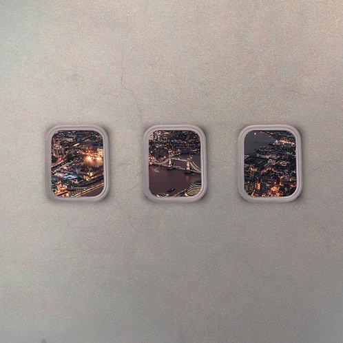 Set Ventanillas Avión Londres (3 Cuadros)