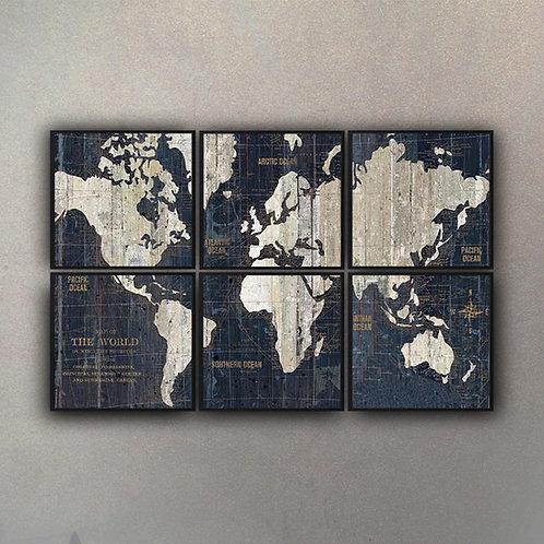 Set Composición Mapa del Mundo II (6 cuadros)