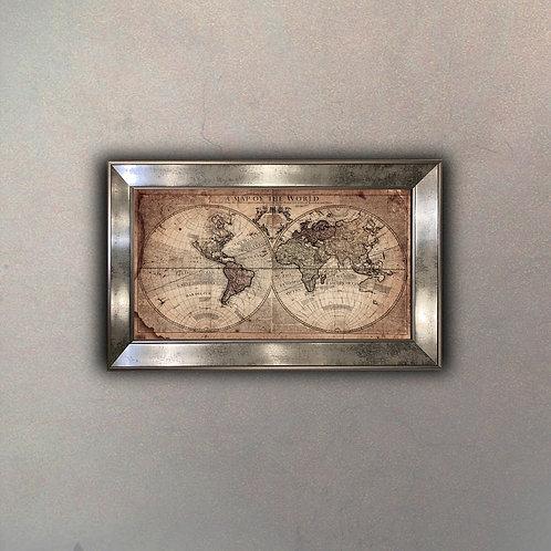 Mapa del Mundo III Espejo Antique
