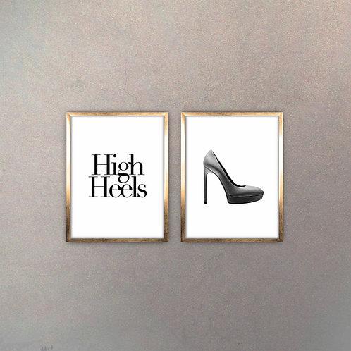 Set High Heels (2 Cuadros) Gold