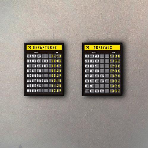 Set Carteles Aeropuerto Verticales II (2 Cuadros)