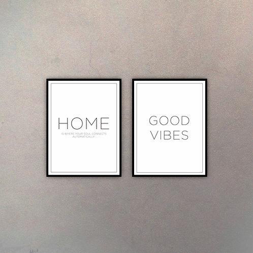 Set Home & Good Vibes (2 Cuadros)