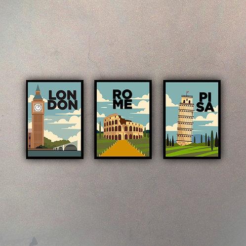 Set Afiches Vintage II (3 Cuadros)