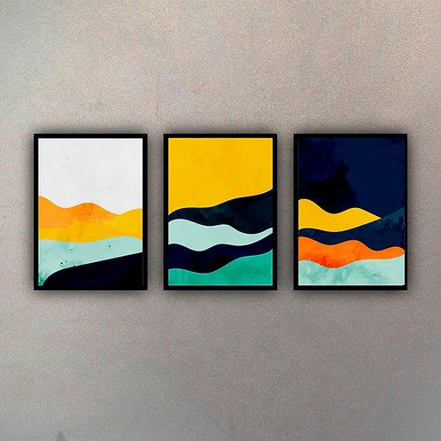 Set Abstractos Color (3 Cuadros)
