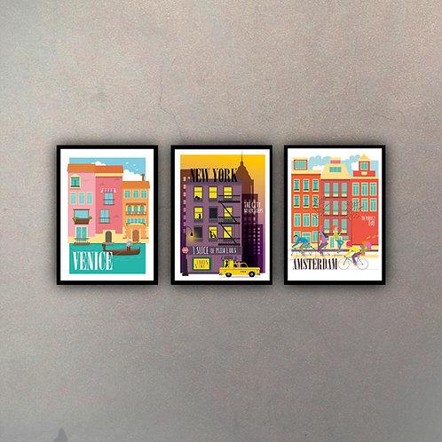 Set Afiches Vintage III (3 Cuadros)