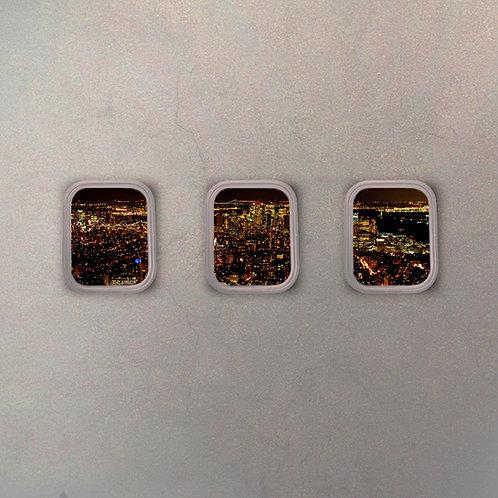 Set Ventanillas Avión New York (3 Cuadros)