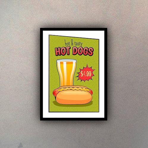 Afiche Vintage Hot Dogs