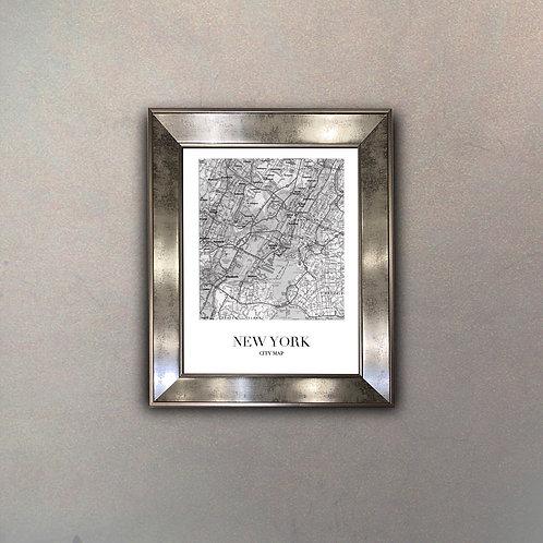 Plano Ciudad New York Espejo Antique