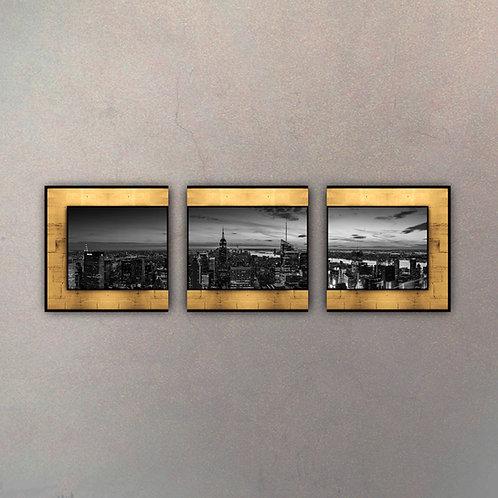 Triptico Placa Panorámica New York Gold