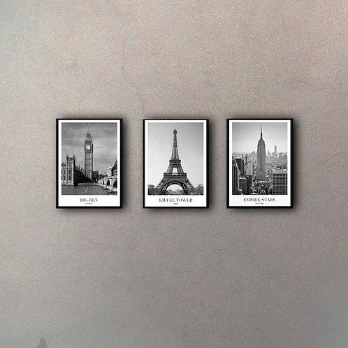 Set Fotos Ciudades (3 Cuadros)