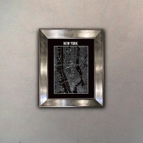 Mapa NY II Espejo Antique
