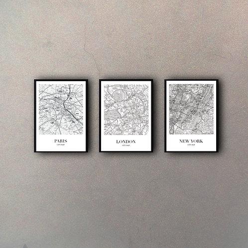Set Planos Ciudades (3 Cuadros)