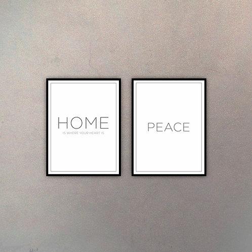 Set Home & Peace (2 Cuadros)