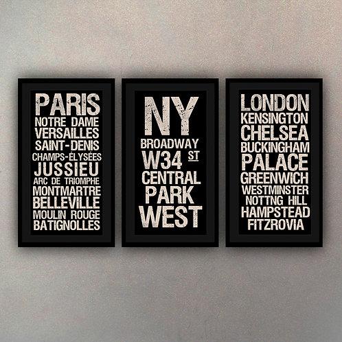 Set Carteles Tipografía Ciudades (Canvas)