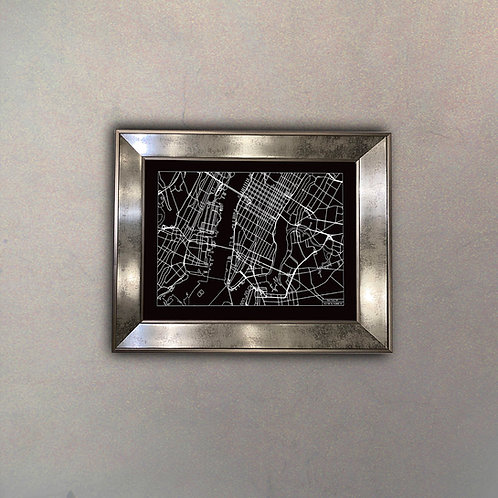 Mapa New York II Espejo Antique