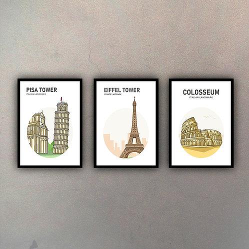 Set Íconos Ciudades (3 Cuadros)