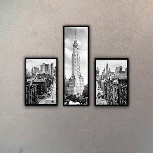 Set Torre Chrysler & Calles NY (3 Cuadros)