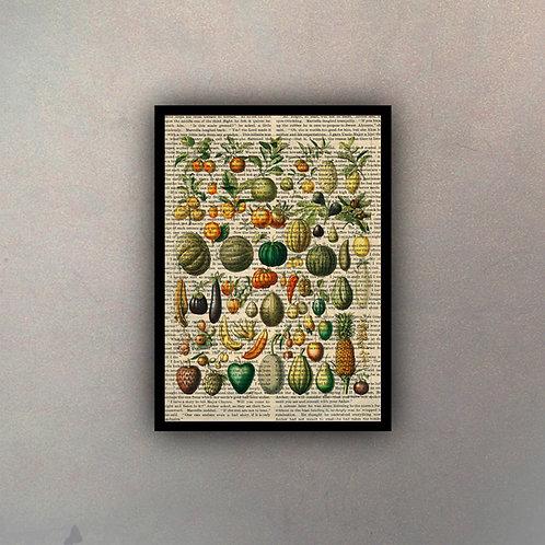 Frutas & Verduras Fondo Vintage