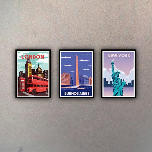 Set Afiches Vintage I (3 Cuadros)