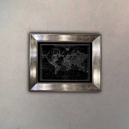 Mapa del Mundo II Espejo Antique