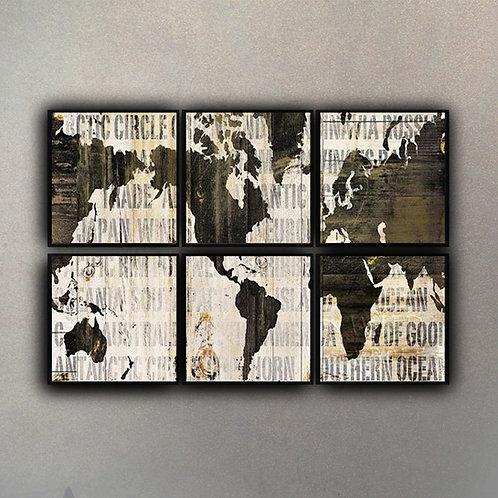 Set Composición Mapa del Mundo (6 cuadros)