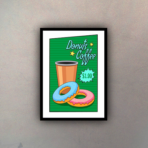 Afiche Vintage Donuts Coffee