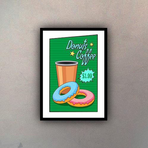 Afiche Vintage Donuts Coffee