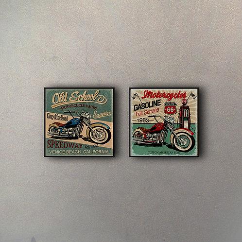 Set Motos Vintage (2 Cuadros)