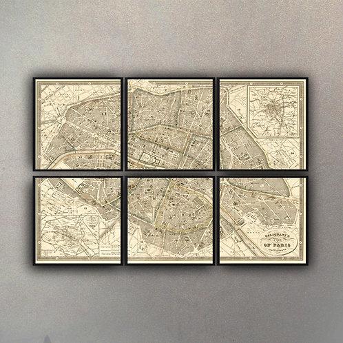Set Composición Mapa París (6 cuadros)