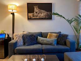 Leopardo (Canvas) con varilla espacial Cobre