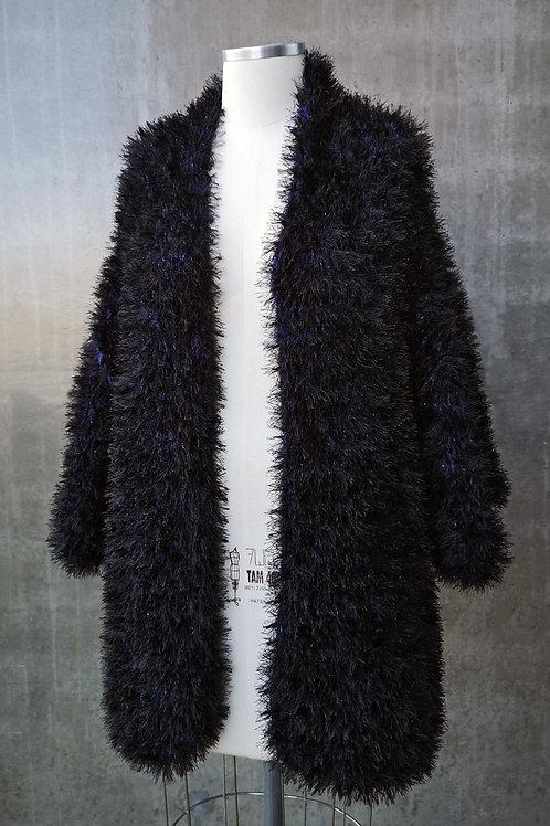 Kimono Handmade pelúcia - PRETO/MARINHO