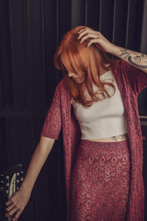 Colete longo rendado - rosê