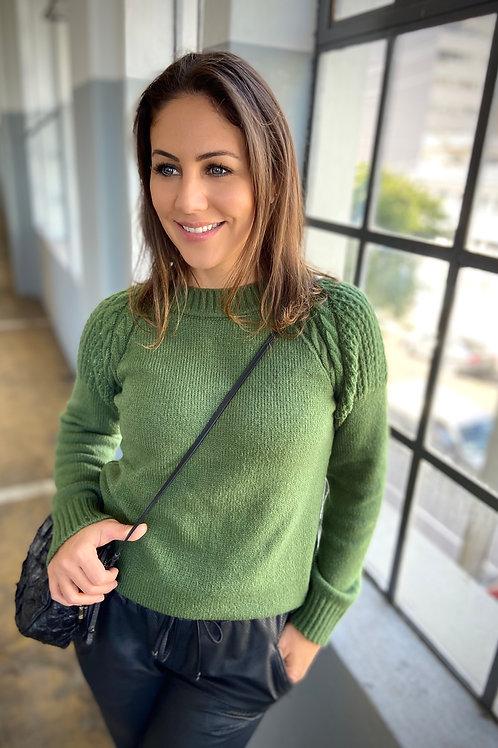 Blusa Ombros Decorados - Verde Oliva