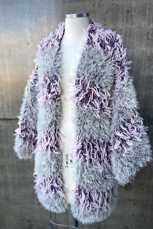 Kimono handmade listrado pelúcia - light lilac