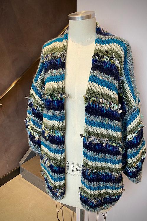 Kimono Handmade Listrado - Marinho / Verde
