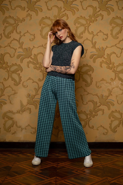 Pantalona xadrez - cassis/ turquesa