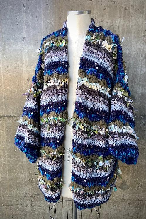 Kimono handmade listrado - azul