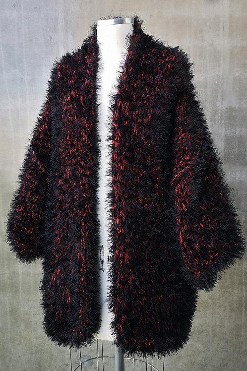 Kimono Handmade pelúcia - preto/vermelho
