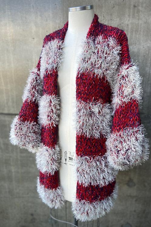 Kimono handmade listrado pelúcia- red