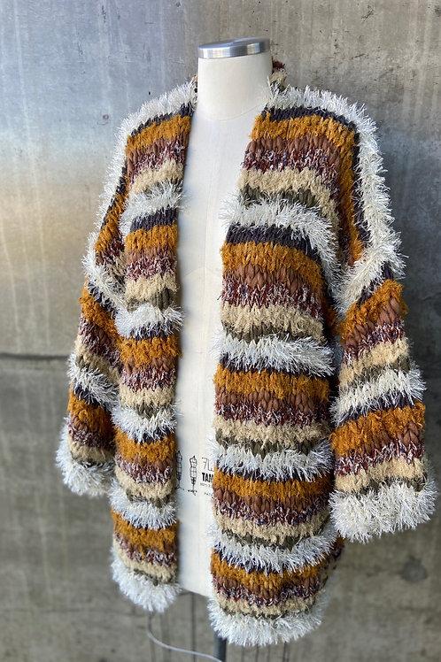 Kimono handmade listrado - Mostarda/gelo