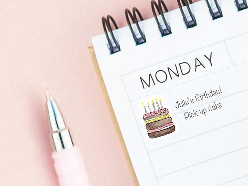PLANNER STICKERS --- Birthday Cake