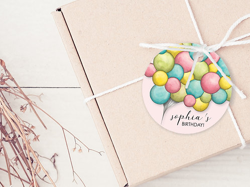 PERSONALISED GIFT TAGS --- Balloons Party Thank you's (pkt 30)