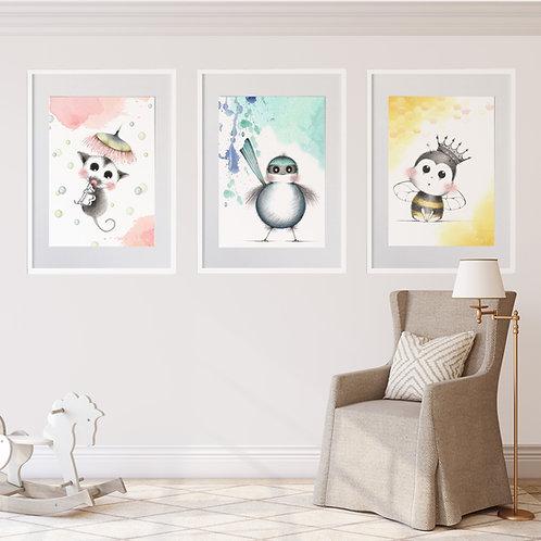 FRAMED SET OF 3 --- Sweet Nursery Animals