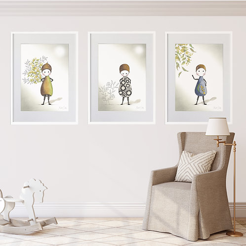 FRAMED SET OF 3 --- Annie Series